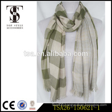 high quality new style low price checked double-side viscose scarf lady timeless scarf factory china supplier